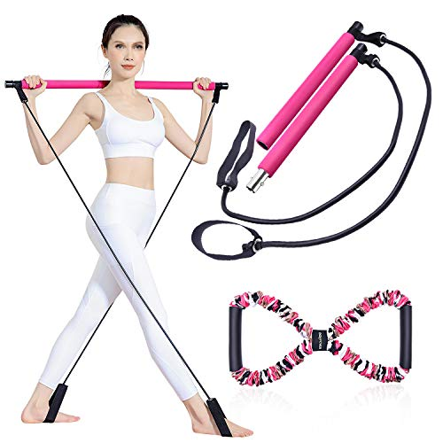 BQYPOWER Pilates Bar Kit with Resistance Band, Portable Yoga Pilates Stick 8 Shape Chest Rally Pull Rope Muscle Toning Bar Home Gym Pilates Body Shaping Pilates Stick