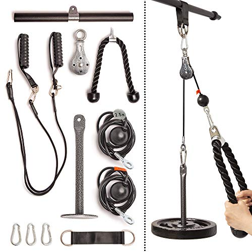 Fitty Max Fitness Cable Pulley System Gym. at Home Cable Machine Exercise Pulley Wheel with (3X) Rope, Bar, and Chest Handles Attachments for LAT Pull Down, Cable Crossover, Tricep, Biceps and More!