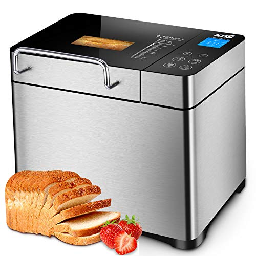 KBS 17-in-1 Programmable Bread Machine, 2LB Stainless Steel Bread Maker with Fruit Nut Dispenser, Nonstick Ceramic Pan& Digital Touch Panel, 3 Crust Colors, Reserve& Keep Warm Set, Oven Mitt Included