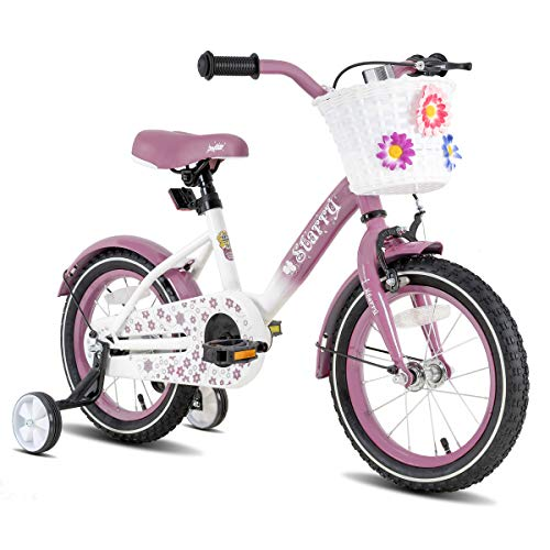 JOYSTAR 18 Inch Kids Bike with Caliper Coaster Hand Brake and Basket for 5 6 7 8 9 Years Girls 18' Youth Cycle Bike with Training Wheels and fenders Lavender