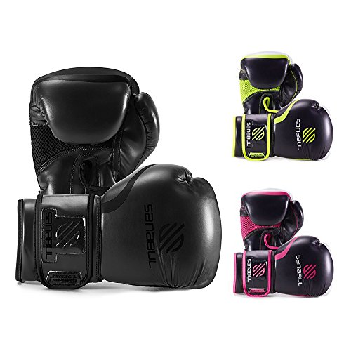 Sanabul Essential Gel Boxing Kickboxing Fighting/Bag Gloves (All Black, 16 oz)