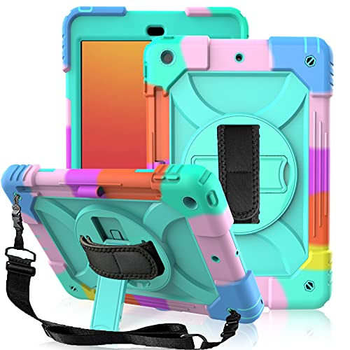 LTROP iPad 8th Generation Case,iPad 10.2 Case,iPad 7th Generation Case for Kids,Shockproof iPad 10.2 Inch [360 Rotating Stand] [Hand Strap] [Pencil Holder] Kids Case for iPad 2020/2019 (8th/7th Gen)