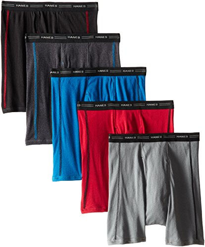 Hanes Men's Cool Dri Tagless Boxer Briefs With Comfort Flex Waistband, Multipack, 5 Pack - Assorted , Large