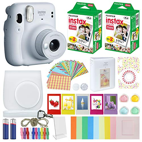 Fujifilm Instax Mini 11 Instant Camera Ice White + Carrying Case + Fuji Instax Film Value Pack (40 Sheets) Accessories Bundle, Color Filters, Photo Album, Assorted Frames…