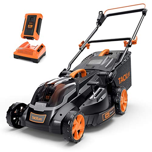 TACKLIFE Lawn Mower L9, 36V Rated 4.0Ah, Brushless Motor, 16IN Cordless Lawn Mower, with Battery and Charger, 6 Mowing Heights, 3 Operation Heights, 10.5Gal Grass Box