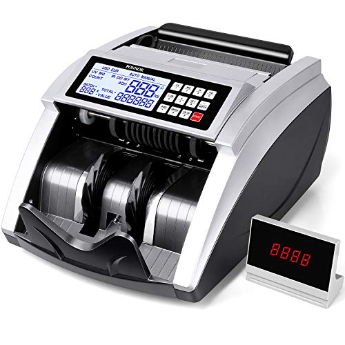 PONNOR Money Counter, Bill Counting Machine with UV/MG/IR/MT Detection, Bill Counting Machine with LED External Display, Add and Batch Modes, 1,000 Notes/Minute - Count Value of Bills