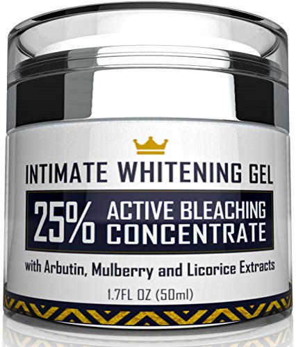 Intimate Whitening Cream - Made in USA Skin Lightening Gel for Body, Face, Bikini and Sensitive Areas - Underarm Bleaching Cream with Mulberry Extract, Arbutin, Licorice Extract - 1.7 oz