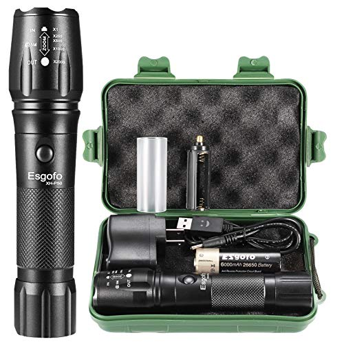 Rechargeable LED Flashlights High Lumens, Esgofo Tactical P50 Powerful Flash Light, High Power Big Gear Torch,With 26650 6000mAh Battery USB Charger Gift Box, For Emergency Camping Hunting Accessories