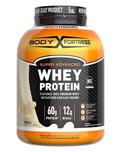 Body Fortress Super Advanced Whey Protein Powder Gluten Free Lbs, Vanilla, Vanilla, 80 Ounce