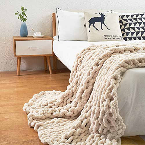 ERLYEEN Chunky Knit Blanket Throw Chenille Cable Handmade Chunky Knit Throw Blanket Warm Soft Cozy for Bed Chair Sofa Best Gift,Beige 32'x32'