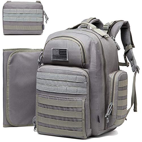 Diaper Bag Backpack for Dad, DBTAC Large Baby Nappy Bag for Men w/Changing Mat, Insulated+Wipe Pockets, Stroller Straps, Grey