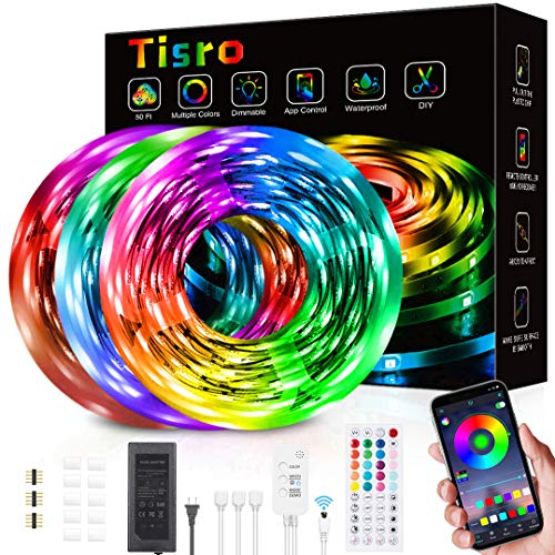 Waterproof Led Strip Lights 50ft, Led Lights for Bedroom with Remote and Bluetooth App Control, Music Sync RGB Color Changing Led Light Strips for Room, Bedroom, Kitchen, Yard, Dorm