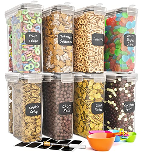 Cereal Container Storage Set - Airtight Food Storage Containers, Kitchen & Pantry Organization, Labels, Spoon Set & Pen Great for Flour - BPA-Free Dispenser Keepers (101.4oz) - Chef's Path