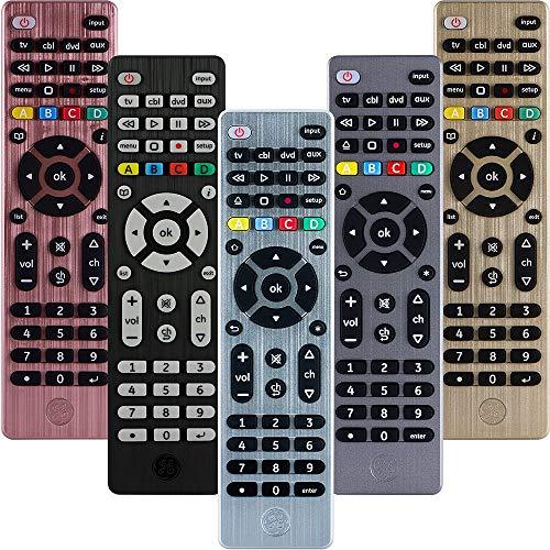 GE Universal Remote Control for Samsung, Vizio, LG, Sony, Sharp, Roku, Apple TV, TCL, Panasonic, Smart TVs, Streaming Players, Blu-ray, DVD, 4-Device, Silver, 33709
