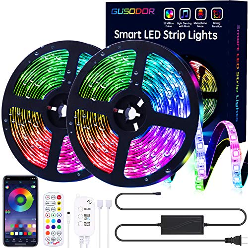 Gusodor Led Strip Lights 32.8 Feet Outdoor Led Lights Waterproof 300 LEDs Flexible Led Light Strips Color Changing Music Sync RGB Rope Light with Remote Smart Led Lights for Bedroom Home Kitchen