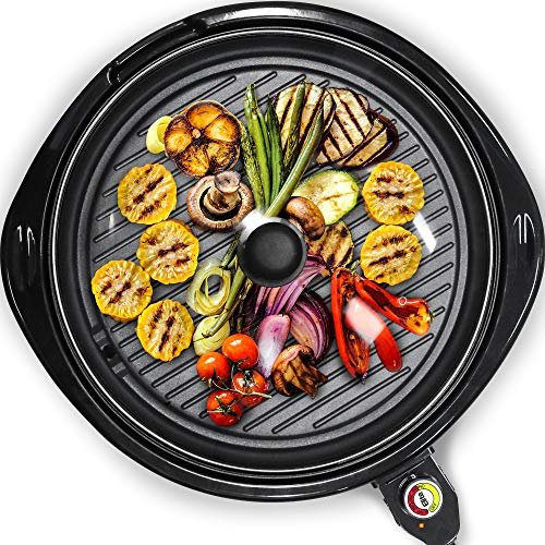 Elite Gourmet EMG-980B Large Indoor Electric Round Nonstick Grill Cool Touch Fast Heat Up Ideal Low-Fat Meals Dishwasher Safe Includes Glass Lid, 14', Black
