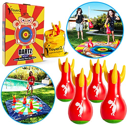 ToyerZ Lawn Darts Outdoor Game. Yard Game for Kids and Family. 4 Inflatable Lawn Darts for Children & Adults. Toss Game. Backyard Family Games for Boys & Girls. Outside Toys Teens Party Gift Idea