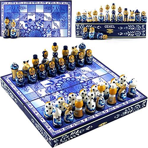 Chess Set Board Game Russian Dolls Set - Themed Chess Russian Folk Art of Russia -Matryoshka Nesting Doll Chess Pieces Wood Decor - Unique Chess Set Souvenirs (Gzhel)