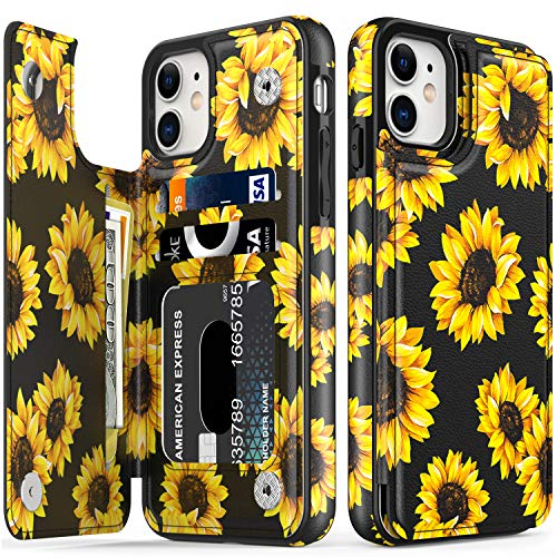 LETO iPhone 11 Case,Leather Wallet Case with Fashion Floral Flower Designs for Girls Women,with Kickstand Card Slots Cover,Protective Phone Case for Apple iPhone 11 6.1' Blooming Sunflowers