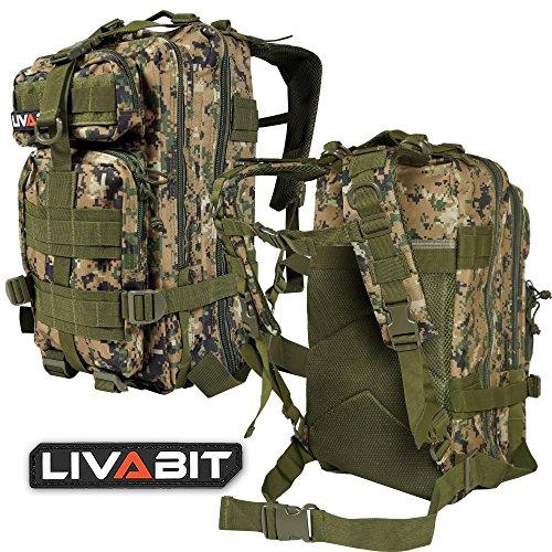 LIVABIT Tactical Emergency EDC 3 Day Earthquake Survivalist Grab and Go Bug Out Kit Bag Backpack Rucksack Molle Nylon Carrier MARPAT