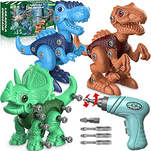 Dinosaur Toys for 3 4 5 6 7 Year Old Boys, Take Apart Dinosaur Toys for Kids 3-5 5-7 STEM Construction Building Kids Toys with Electric Drill, Dinosaur Toys Christmas Birthday Gifts Boys Girls