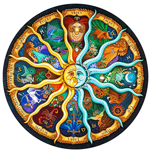 Sunrich Zodiac Jigsaw Puzzle 500 Pieces for Adults- Round Horoscope Imagination Series Puzzle DIY Circular Constellation Puzzles Graduation Gift Cool and Challenge