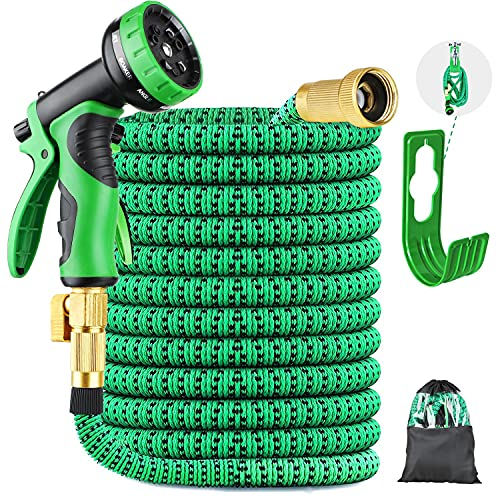 Landtaix Expandable Garden Hose Water Hose 50ft Garden Hose Durable Leakproof Lightweight Retractable Hose with Holder&9 Function Nozzle,Durable Solid Brass Fittings Great for Watering Washing