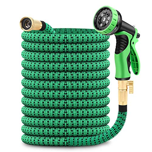 GAGALUGEC 50ft Expandable Garden Hose with 9 Function Nozzle, Lightweight Retractable Water Hose with Brass Fittings, Gardening Flexible Hose Pipe