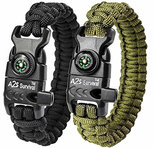 A2S Protection Paracord Bracelet K2-Peak – Survival Gear Kit with Embedded Compass, Fire Starter, Emergency Knife & Whistle (Black/Green 8')