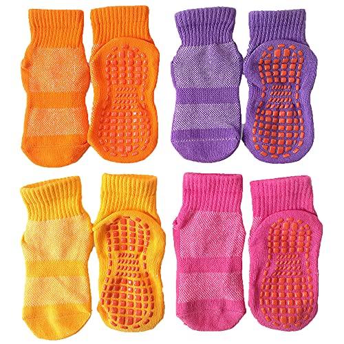Leeshow 4Pairs Non Slip Trampoline Socks for Kids, Anti Skid Gripy Floor Socks for Exercises, Gym, Yoga and Pilates (Pink, Purple, Orange, Yellow, 2-5years)
